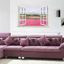 3D Pink Flowers Windows Landscape Wall Stickers,Wall Decals A_FYGA_A