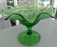 GREEN POPPY 8-Ruffles Early American Pattern Glass Comport* Northwood c. 1908