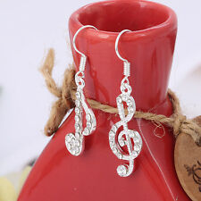 Personality Trendy Music Notes Clear Crystal Silver Lady Dangle Parties Earrings