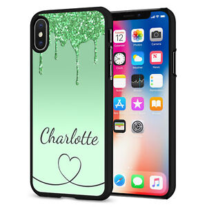 PERSONALISED NAME Glitter HEART Phone Hard Case Cover For iPhone 12 164-8 Black