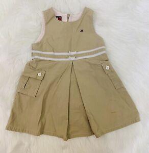 TOMMY HILFIGER Baby Girls 18-24 Months Khaki Beige Jumper Dress Lined