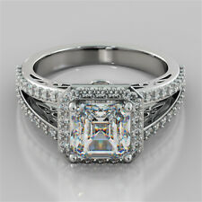 Engagement Wedding Ring Solid 925 Silver 3.25ct White Asscher Cut Diamond Halo