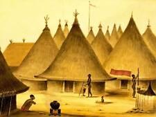 LANDSCAPE AFRICAN NATIVE VILLAGE HUT POT FIRE SPEAR ART PRINT POSTER BB8543