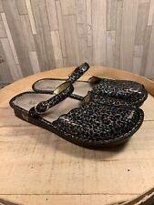 Alegria Women's Tuscany Leopard Stripe Animal Shoes Sz 10 Black Clogs TUS-403