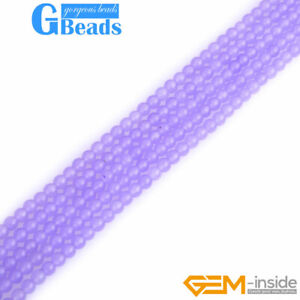 4mm Light Purple Jade Round Loose Beads For Jewelry Making 15'' Free Shipping