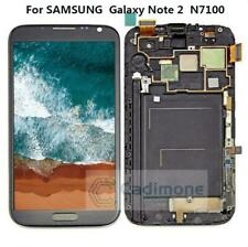 For Samsung Galaxy Note 2 N7100 LCD Touch Screen Digitizer Assembly Frame Gray T