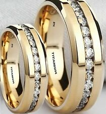 His And Hers Titanium Gold Tone MATCHING Wedding Engagement Ring Set -UK SELLER