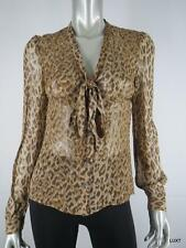 DOLCE GABBANA D&G 4 S XS 100% Silk Brown Tan Leopard Print Long Sleeve Blouse