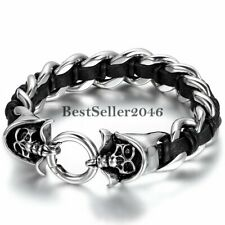 "Genuine Leather Braided Bracelet 9.5"" Mens Stainless Steel Skull Curb Chain"