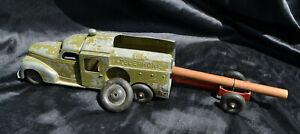 BELL TELEPHONE TRUCK with trailer- HUBLEY KIDDIE TOY - Vintage Pressed Steel