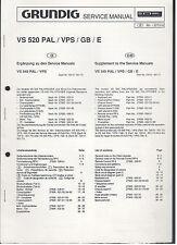 Service MANUAL GRUNDIG VIDEO RECORDER vs520pal/vps/gb/e TOP!