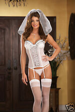 Sexy Lingerie DreamGirl White Bridal Lycra Net Bustier w Stockings Veil Thong