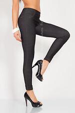 Winter Warm Sensible Denim Full Length Leggings Jeans Trousers Size 8-18 9KDLM