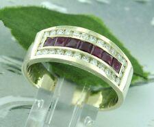 1.78 ct 14k Solid Yellow Gold Mens Men's Natural Diamond & Princess Ruby Ring