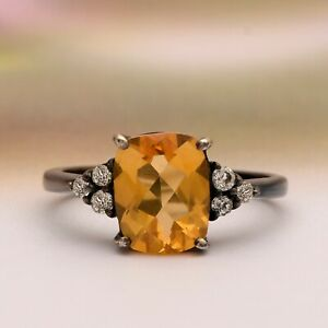 Black Plated Octagon Citrine 925 Sterling Silver Ring Jewelry