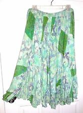 "Swing Skirt Gored,Patch ""Sky"" Green/Blue 3/4 Length *Size Large NWT"