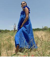 H&M Blue Flounced Trimmed Maxi Midi  Dress SIZE MEDIUM BNWT