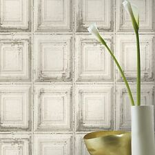 Distressed Wood Panel Wallpaper - White - Rasch 932614