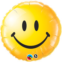 "ROUND SMILEY FACE YELLOW FOIL BALLOON 18"" QUALATEX FOIL BALLOON"