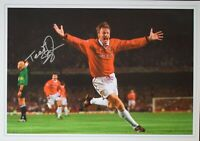 Teddy Sheringham SIGNED 16x12 Photo Autograph Manchester United 1999 AFTAL & COA
