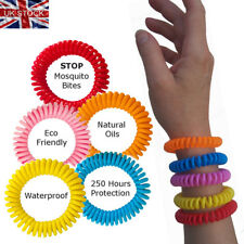 5 Mosquito Repellent Bracelets Natural Waterproof Spiral Deet Free BI Wrist Band