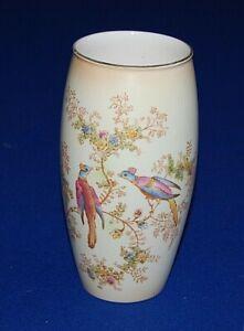 Vintage Crown Ducal Blush Ware Vase, Birds & Butterflies Decoration, 20.5cms.