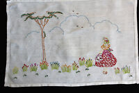 Vintage white linen tray cloth with hand embroidered flowers, tree and lady.