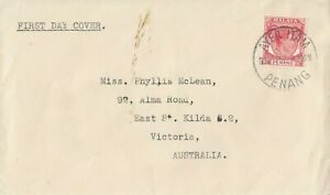 Stamp Malaya 12c red KGV1 on plain cover AYER ITAM PENANG to Australia first day