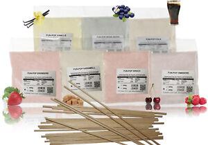 5x100g  Zuckerwattezucker,Farbaromazucker+50 Zuckerwattestäbchen,Holzstäbchen