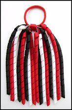 RED BLACK WHITE SCHOOL UNIFORM KORKER HAIR PONYTAIL BOBBLE CORKER STREAMER