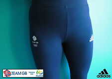 ADIDAS TEAM GB ISSUE- TRAINING FOR RIO IN 2016 - ATHLETE NAVY BLUE 3/4 LEGGINGS