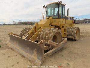 2000 Caterpillar 815F Padfoot Soil Compactor Roller 12' Blade Cab A/C bidadoo