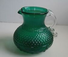 Antique Sandwich Glass Pitcher Teal Green Glass Blown Mold Applied Handle