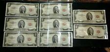1953 A 2 Dollar Bill Red Seal A57896318A to A57896311A Consecutive Silver *Error