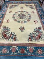 "10' x 14'6"" Chinese Aubusson Oriental Rug - Full Pile - Hand Made - 100% Wool"