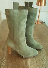 ASOS pale Olive Green Kahki Suede Leather Heeled Boots BRAND NEW