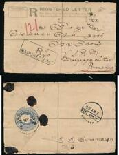 BURMA 1906 REGISTERED STATIONERY KE7 MADURA PALACE CANCEL + BOXED..STAMP MISSING
