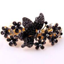 Gold Tone Rhinestone black color metal HairClip Barrette 118011/22