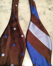 Edward Armah Reversible Silk Bow Tie 2 in 1 Blue Brown Polka Dot & Stripe