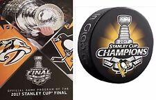 2017 STANLEY CUP FINAL PROGRAM + PITTSBURGH PENGUINS CHAMPIONSHIP SOUVENIR PUCK