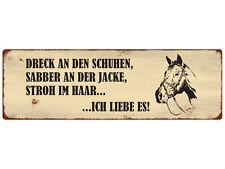 METALLSCHILD Blechschild DRECK AN DEN SCHUHEN Türschild Pferd Pony Stall Reiten