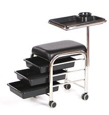 Urbanity manicure nail hair station beauty salon trolley chair stool table black