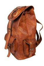"17"" New Large Genuine Leather Backpack Rucksack Travel Bag For Men's and Women's"