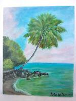 Original Acrylic Painting 8 x 10 Canvas Panel Tropical Island Beach  Art Decor