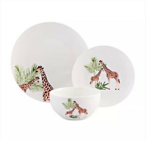 12 Piece Giraffe Dinner Set Plate Bowl Dinnerware Crockery Dining Service for 4