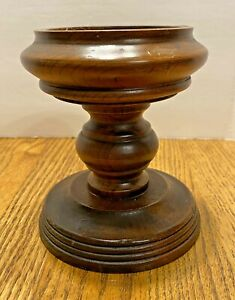 """Chunky Wooden Pedestal Candle Holder Round Dark, Holds 3"""" or 2"""" Pillar Candle"""