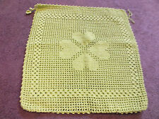 "Collectible Handmade Crocheted Pillow Cover Yellow-Green 14"" Hearts NICE"