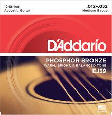 D'Addario EJ39 Phosphor Bronze 12 String Medium Acoustic Guitar Strings