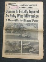 June 12, 1968 - Ronnie Duman -NASCAR - USAC -INDYCAR- Speed Sport News Newspaper
