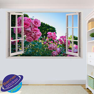 Spring Pink Rose Garden WALL STICKER 3D WINDOW ROOM DECORATION DECAL MURAL YS2